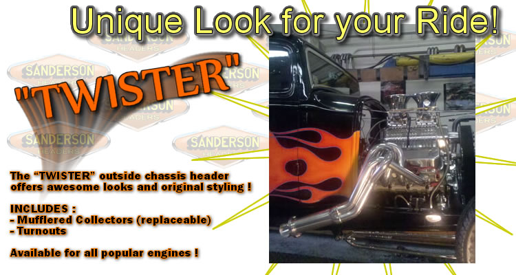 Sanderson Twister Header outside chassis header offers great looks, a mufflered collector, and comes with matching turnouts.